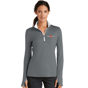 Nike Ladies Dri-FIT Stretch 1/2-Zip Cover-Up (Grey and White)