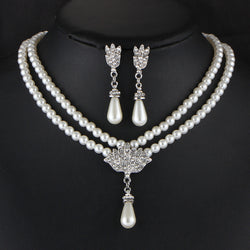 Pearl & Crystal Water Drop Pendant Bridal Jewelry Set