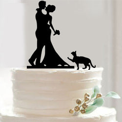 Bride & Groom with Cat Cake Topper