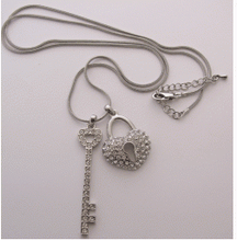 Key and Lock Necklace - sterling silver - Skinue