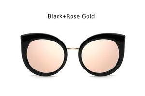 Vintage Rose Gold Mirror Cat Eye Sunglasses Women - Skinue