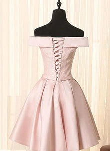 Simple A Line Off the Shoulder Pearl Pink Satin Short Homecoming Dresses with Lace  BP129
