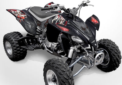 YFZ 450 Joker Graphics - Black Background, Red & White Joker