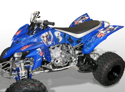 YFZ 450 Joker Graphics - Blue Background, Purple & White Joker