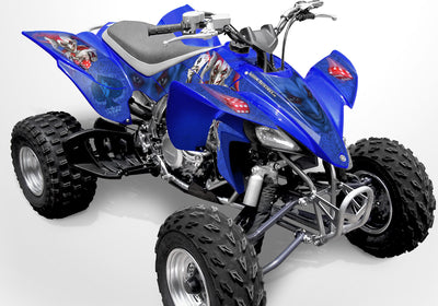 YFZ 450 Joker Graphics - Blue Background, Red & White Joker