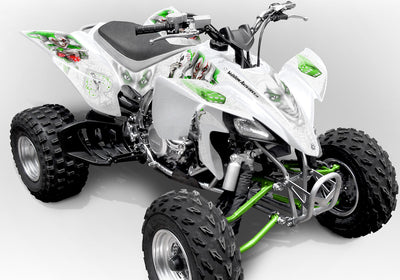 YFZ 450 Joker Graphics - White Background, Bright Green & White Joker