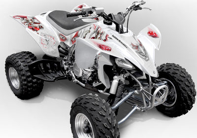 YFZ 450 Joker Graphics - White Background, Red & White Joker