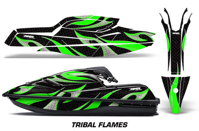 Tribal Flame - BLACK background GREEN design