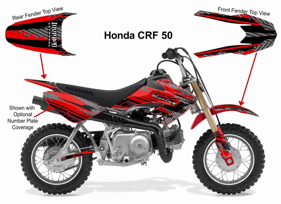 Honda crf50f graphics kits over 100 designs to choose from invision atv motocross utv graphics