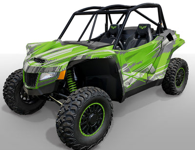 Racer X - Bright Green background / Silver Design