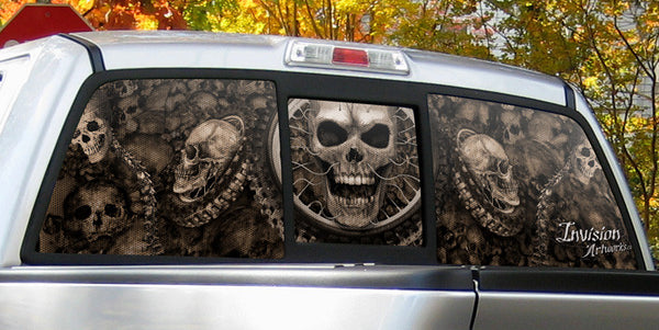 Rear Window Graphics Skull Pile With Adrenaline Junkie