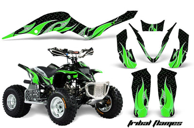 Tribal Flames - Black Background Bright Green Design ATV Graphics