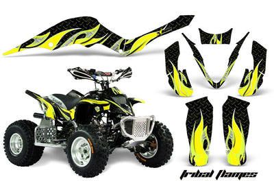 Tribal Flames - Black Background Yellow Design ATV Graphics