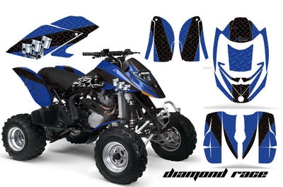 Diamond Race - Blue Background Black Design