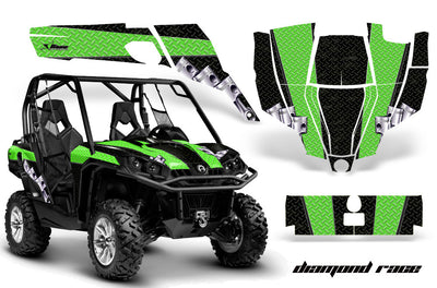 Diamond Race - BLACK Background, BRIGHT GREEN design