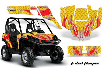 Tribal Flames - Yellow Background, Red Design