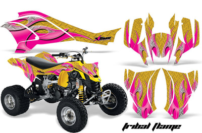 Tribal Flame in Yellow Background Pink Design