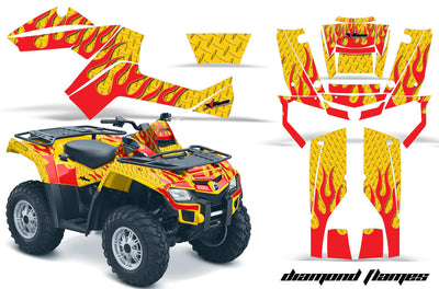 Diamond Flames - Yellow Background Red Design