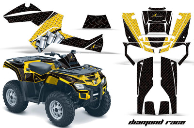 Diamond Race - Black Background Yellow Design