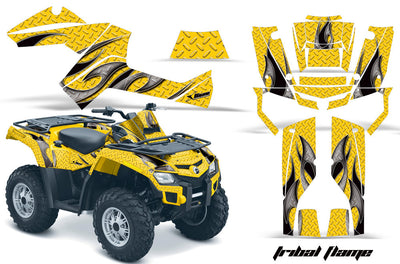Tribal Flames - Yellow Background Black Design