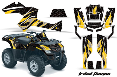 Tribal Flames - Black Background Yellow Design