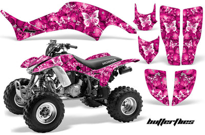 Skulls & Butterflies - Pink Background White Design