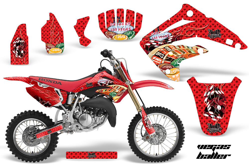 RED BLUE DECALS 2003-2013 HONDA CR 85 STICKERS GRAPHICS CR85 LUCAS OIL