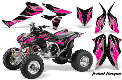Tribal Flames - Black Background, Pink Design