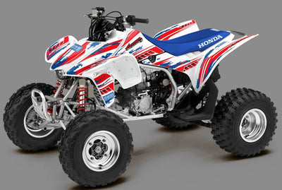 Racer X - White Background, Red & Blue Design
