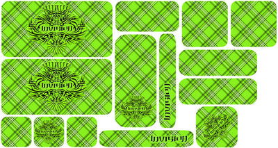 Plaid Sticker Set - Bright Green Design