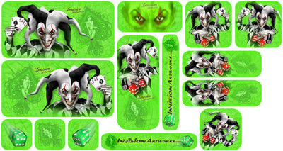 Bright Green Background, Black & White Joker