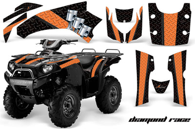 Diamond Race - Black Background Orange Design