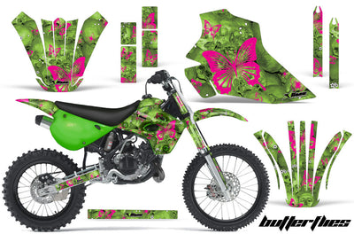 Skulls & Butterflies - Green Background Pink Design