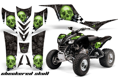 Checkered Skull - Black Background Green Design