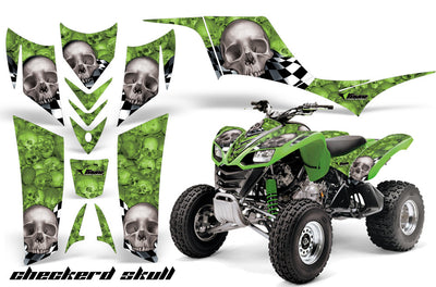 Checkered Skull - Green Background White Design