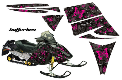 Ski Doo Rev '03-'09 Skulls & Butterflies Black Background Pink Design