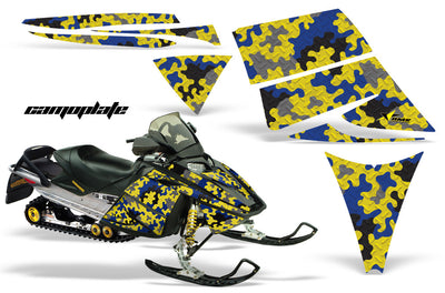 Ski Doo Rev '03-'09 Camo Plate in Yellow Background Blue Design (By request)