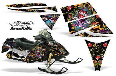 "Ski Doo Rev '03-'09 Ed Hardy ""Love Kills"" Black Background"