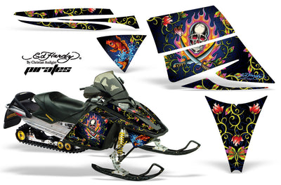 "Ski Doo Rev '03-'09 Ed Hardy ""Pirates"" Black Design"
