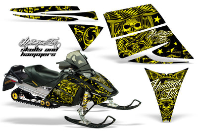 Ski Doo Rev '03-'09 Skulls & Hammers Yellow Design