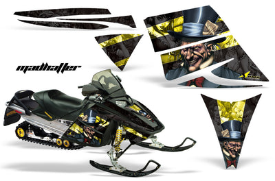 Ski Doo Rev '03-'09 Mad Hatter Black Background Yellow Design