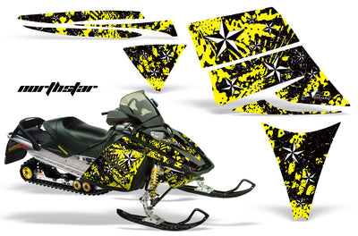 Ski Doo Rev '03-'09 North Star Yellow Background White Design