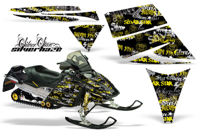 Ski Doo Rev '03-'09 Silver Haze Black Background Yellow Design