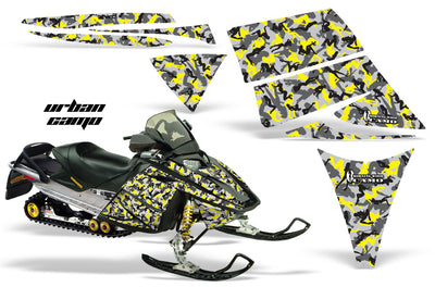 Ski Doo Rev '03-'09 Urban Camo Girl in Yellow Design