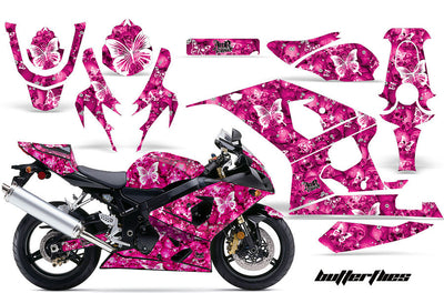 Suzuki GSXR 600/750 '04-'05 Butterflies & Skulls in Pink Background with White Design