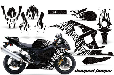 Suzuki GSXR 600/750 '04-'05 Diamond Flame Black Background White Design