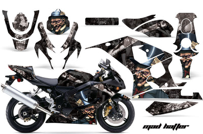 Suzuki GSXR 600/750 '04-'05 Mad Hatter Black Background with Silver Design