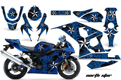 Suzuki GSXR 600/750 '04-'05 North Star Blue Background with White Design