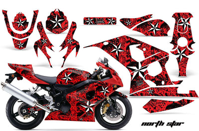 Suzuki GSXR 600/750 '04-'05 North Star Red Background with White Design