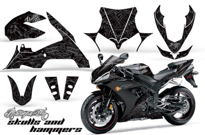 Yamaha R1 '04-'05 Huntington Ink Skulls & Hammers in Silver Design
